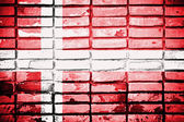 Drapeau du danemark sur le mur de brique — Photo