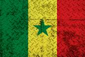 Senegal Flag on steel wall — Stok fotoğraf