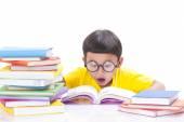 Cute little boy is reading a book — Stockfoto
