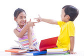 Little boy and girl reading books — Stock Photo