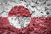 Greenland flag on concrete wall — Stock Photo