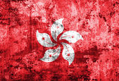 Hong Kong flag on grunge paper — Stock Photo