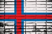 Faroe Islands painted onto a grunge brick wall — Stock Photo