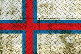 Faroe islands flag on steel wall — Stock fotografie