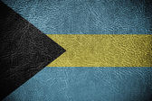 Bahamas Flag painted on leather texture — Stock Photo