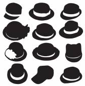 Hats silhouette — Vector de stock