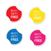 Buy 1 Get 1 Free icon. Special offer label. Round stickers — Stock Vector