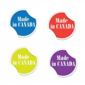 Vector - Made in Canada. Round stickers — Stock Vector