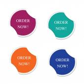 Order now sign icon Special offer label. Round stickers — Stock Vector