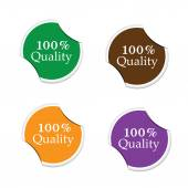 100 Percent quality, round stickers — Stock Vector
