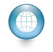 Globe sign button — Stock Vector
