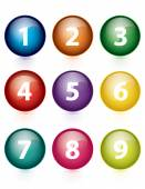 Vector - set of colorful numbers button — Stock Vector