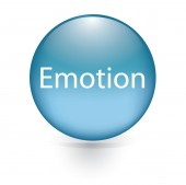 Emotion word blue button — Stock Vector