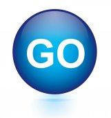 Go blue button — Stock Vector