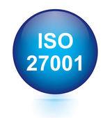 ISO 27001 blue button — Stockvektor