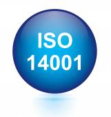 Iso 14001 blue circular button — Stock Vector