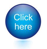 Click here blue circular button — Stock Vector