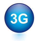 3G blue circular button — Stock Vector