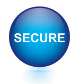 Secure blue circular button — Stok Vektör