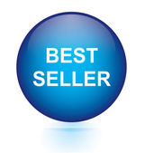 Best seller blue circular button — Stockvector