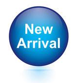 New arrival blue circular button — Stock Vector