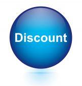 Discount blue circular button — Stock Vector