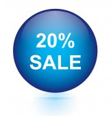 Sale twenty percent blue circular button — Stock Vector
