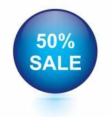 Sale fifty percent blue circular button — Stock Vector