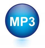 MP3 blue circular button — Stock Vector