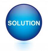 Solution blue circular button — Stock Vector