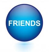 Friends blue circular button — Stock Vector