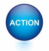 Action blue circular button — Stock Vector