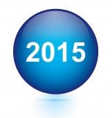 2015 blue circular button — Vector de stock