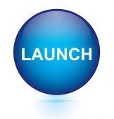 Launch blue circular button — Stock Vector