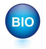 Bio blue circular button — Stock Vector