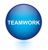 Teamwork blue circular button — Stock Vector