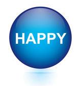 Happy blue circular button — Stok Vektör
