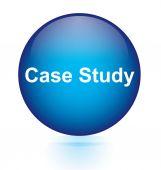 Case study blue circular button — Stockvector
