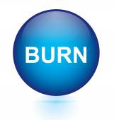 Burn blue circular button — Stock Vector