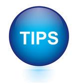 Tips blue circular button — Stock Vector