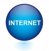 Internet blue circular button — Stock Vector