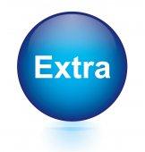 Extra blue circular button — Stock Vector