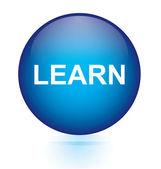 Learn blue circular button — Stock Vector