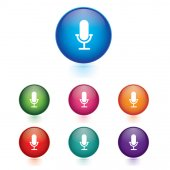 Vector - Set of microphone icons — Stock Vector