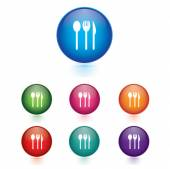 Vector - Set of fork spoon knife icons — Stock Vector
