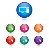 Computer icon web button — Stock Vector