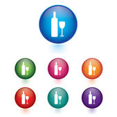 Vector - Set of Bottle and glass icons. — Stock Vector