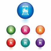 Vector - Set of sky train icons. Transport concept. — Stock Vector
