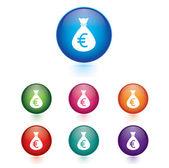 Vector - euro sign icon. Money bag symbol colorful buttons.Money bag icon. Euro EUR — Stock Vector