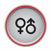 Sex symbol icon circular button — Stock Vector